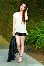 leather Forever 21 shorts - Club Monaco t-shirt - Zara heels