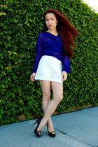 open back Armani Exchange blouse - high waisted Zara shorts - Nine West heels