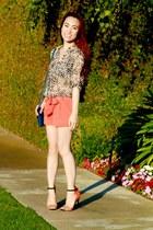 Bebe shorts - Forever 21 top - Zara heels