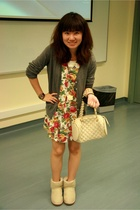 coat - dress - Urban Outfitters purse - Ugg shoes