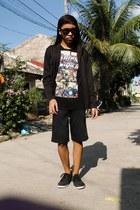 black hoodie blazer - black printed shirt - black cut Lee shorts