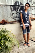 blue diy denim paddocks shorts - white striped top - navy denim vest