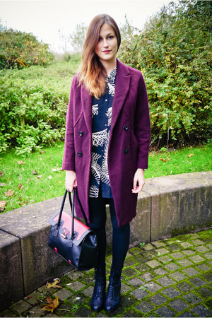 crimson H&M coat - black Topshop boots - black H&M leggings