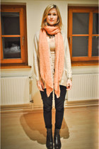 skinny H&M jeans - Bata boots - c&a scarf - H&M cardigan - H&M top