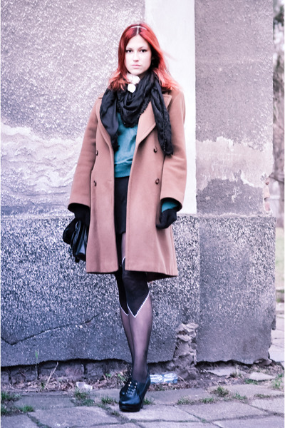tan Pabia coat - black H&M dress - teal H&M sweater