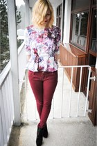 periwinkle H&M blouse - black deezeepl boots - crimson Stradivarius jeans