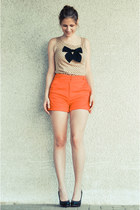 H&M shorts - bowed Mohito top - new look wedges
