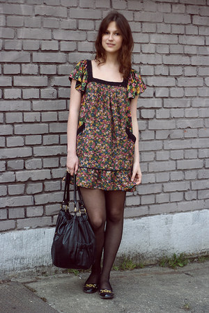 Zara dress - black Vero Moda bag - black River Island flats