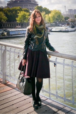 black faux leather Glamorous jacket - dark green Bershka scarf