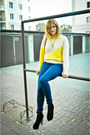 Yellow-vero-moda-sweater-black-dee-zee-shoes-navy-cubu-jeans