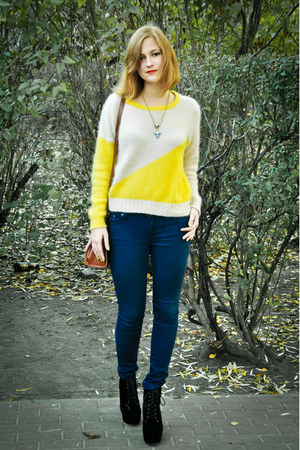 yellow Vero Moda sweater - black Dee Zee shoes - navy Cubu jeans