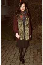 black Atmosphere shoes - black H&M dress - navy checked Atmosphere scarf