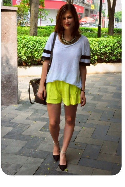 black Zara heels - charcoal gray bag - chartreuse shorts - white Zara top