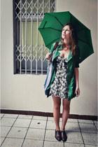 green carry coat - light blue floral dress Zara dress