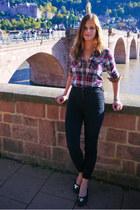 brick red checked shirt - black Michael Kors shoes
