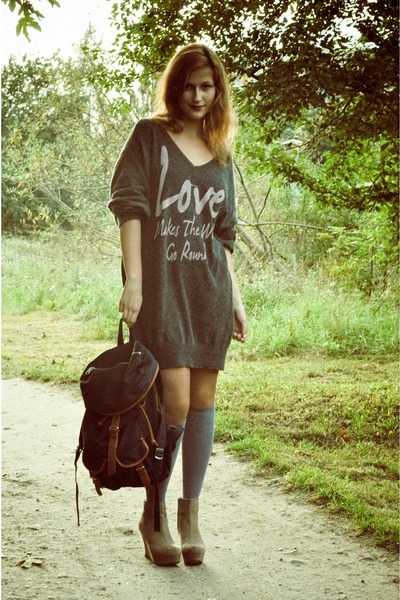 gray new look sweater - tan wedges New Yorker boots - navy backpack H&M bag