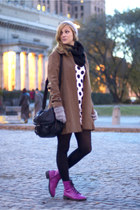 light brown Vero Moda coat - magenta H&M boots - white dotted Rive Island dress