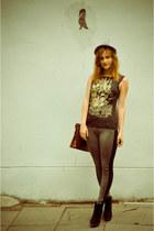 black Bershka wedges - heather gray H&M hat - dark brown SH bag