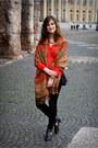 Black-boots-black-stradivarius-jeans-bronze-h-m-scarf-red-h-m-blouse