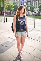 ruby red Keds shoes - black Primark bag - light blue Bik Bok shorts