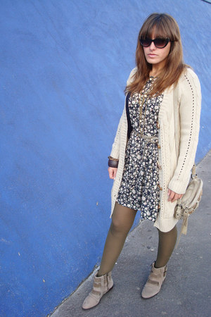 Zara boots - pull&bear dress - Zara bag - BLANCO cardigan