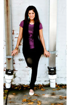 black thrifted vest - purple t-shirt Converse top - black skinny jeans Forever 2