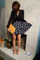 blue vintage skirt - beige Dorothy Perkins shoes - black puff sleeves H&M blazer