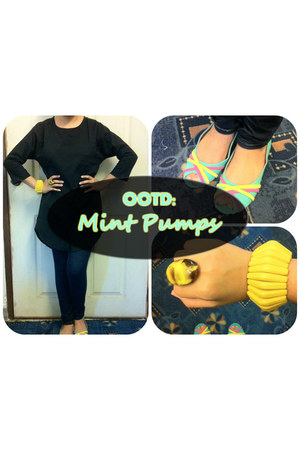 mint unknown brand pumps - black cichic top - unknown brand accessories