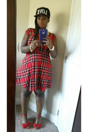 red dress - red red plaid dress Wet Seal dress