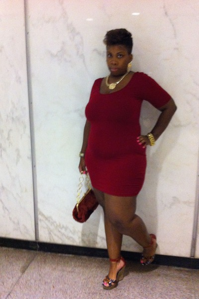 brick red body con dress Forever 21 dress