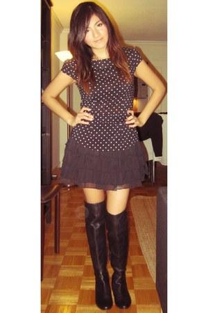 RoseGold boots - H&M shirt - Forever21 skirt