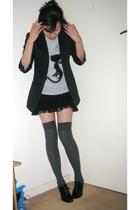 black blazer - black Zara skirt - black pedder red shoes - gray Sportsgirl socks