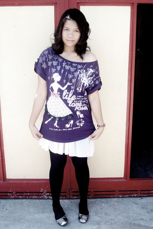 purple top - white skirt - black tights - silver shoes