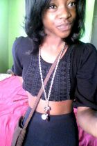 brown bag - purple Forever 21 necklace - black shirt