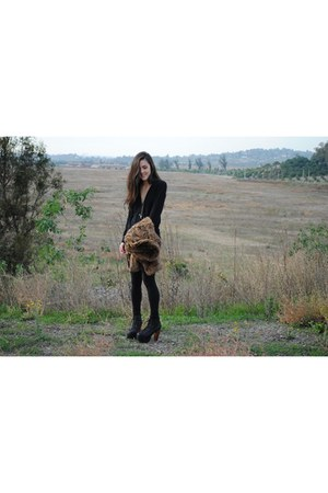 black Jeffery Campbell Litas boots - dark brown fur coat - black Forever 21 legg