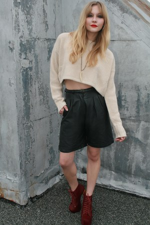 vintage shorts - H&M sweater - Jeffrey Campbell boots