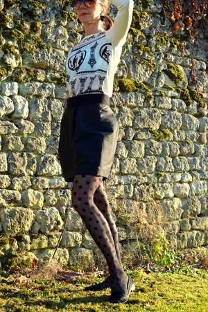 ted baker sweater - leather H&M jacket - H&M tights - COS skirt - Zara loafers