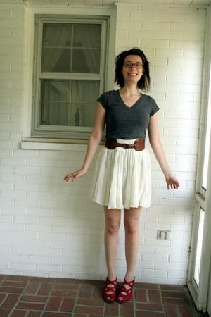 Target t-shirt - Anthropologie belt - Anthropologie skirt - Anthropologie shoes