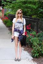 Mango t-shirt - flannel Urban Outfitters shirt - American Eagle shorts