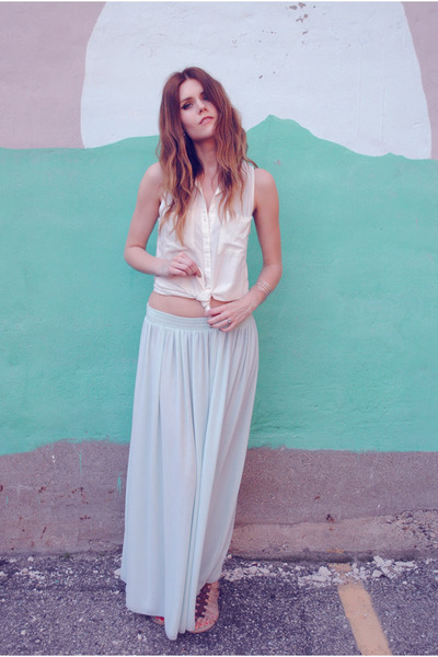 maxi mint Nine 3 Two skirt - H&M top - gladiator mia shoes sandals