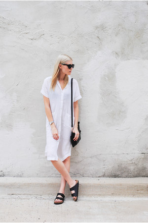 Aritzia dress - Birkenstock sandals