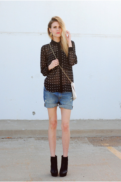 cross pattern Sugarlips top - boyfriend denim H&M shorts - Steve Madden wedges