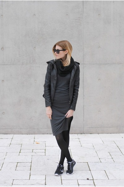 H&M dress - black swan clothing jacket - nike sneakers