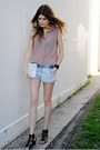 taupe panel Love Culture top - clutch vintage bag - H&M shorts
