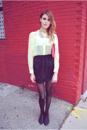 tulip skirt American Apparel skirt - color block Francescas Collection bag