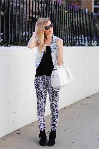 Minnetonka Moccasin boots - denim H&M vest - ami clubwear pants