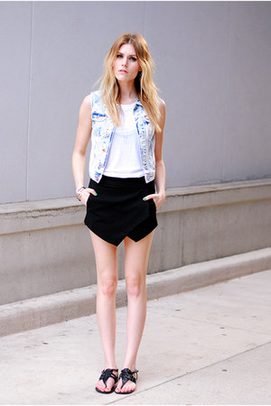 skort Sheinside skirt - Report sandals - denim H&amp;M vest