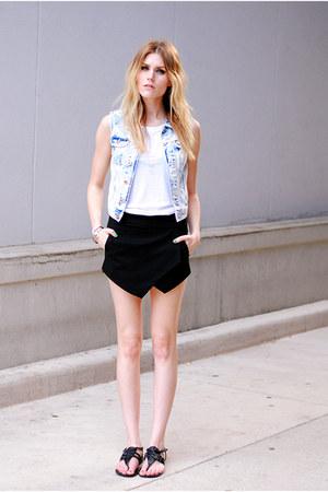 skort Sheinside skirt - Report sandals - denim H&M vest