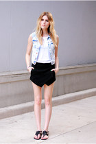 skort Sheinside skirt - Report sandals - denim H&M vest