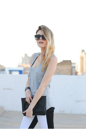 black and white Hudson jeans - Cheap Monday bag - bobi top